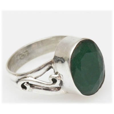 Natural 20.65 Ctw Emerald Oval Ring .925 Sterling