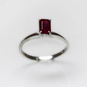Natural 4.85 Ctw Garnet Emerald Cut .925 Sterling Ring