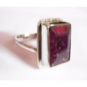 Natural 37.50 ctw Ruby Ring .925 Sterling Silver