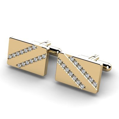 Genuine 0.84 ctw Diamond Cufflink 14k W/Y Gold