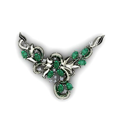 Genuine 13 g Emerald Oval .925 Sterling Silver Pendant