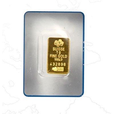 Suisse 1 gram Fine Gold (999.9) Serial No. 432898,24 CT