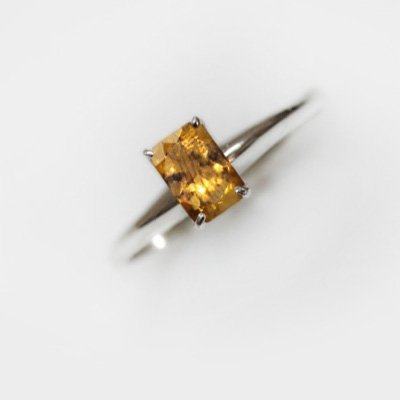 Natural 4.40 ctw Citrine Emerald Cut .925 Sterling Ring