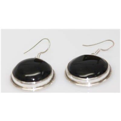 Natural 76.80 Ctw Black Onex Earrings .925 Sterling