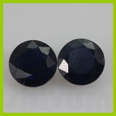 Natural Nice Blue Sapphire Round Cut 2 pcs 2.77 ctw