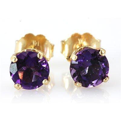 Genuine 3.60 ctw Amethyst Stud Earring 14k 1.1g