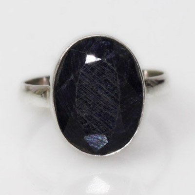Natural 23.65 ct Sapphire Oval Ring .925 Sterling