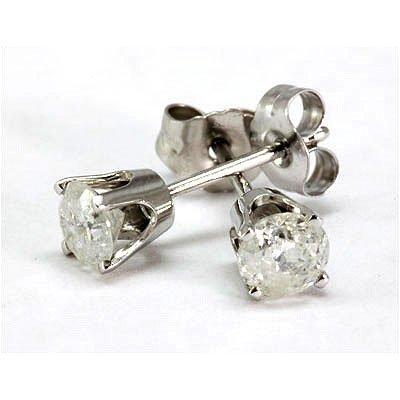 Genuine 1.0 ctw Diamond Stud Earring 14kt White Gold