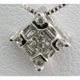 Genuine 0.14 Ctw Diamond Square Pendant 18k W Gold