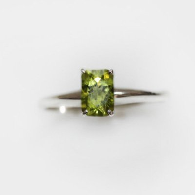 Natural 2.25 ctw Peridot Emerald Cut .925 Sterling Ring