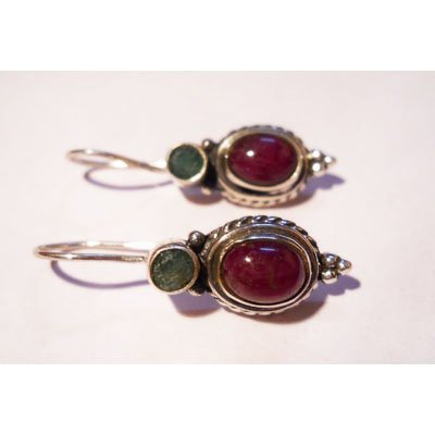 Natural 26.85 ctw Ruby Cabushion Earrings .925 Sterling