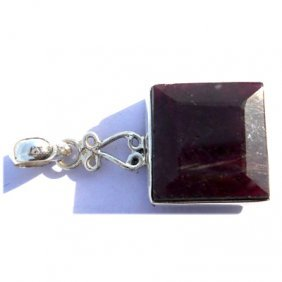 Natural 53.1 Ctw Ruby .925 Sterling Pendant