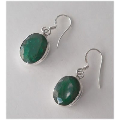 Natural 25.85 ctw Emerald Oval Earrings .925 Sterling
