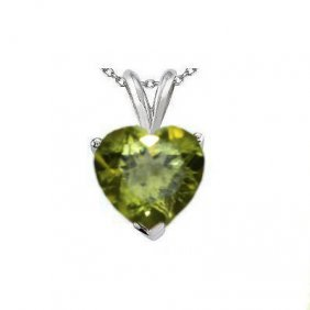 Natural 2.10 Ctw Peridot Heart Pendant .925 Sterling