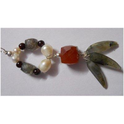 Natural 52.80ct Pearl/Semi Precious Pendant .925 Sterli