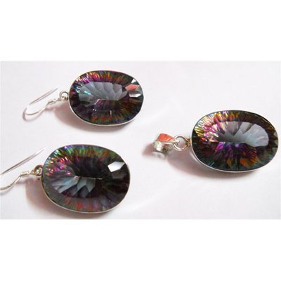 Natural Semi Precious .925 Sterling Earrings/Pendant