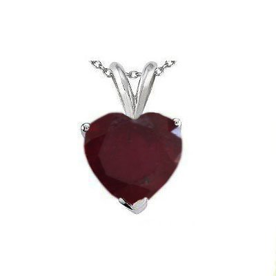 Natural 2.10 ctw Ruby Heart Shape Pendant .925 Sterling