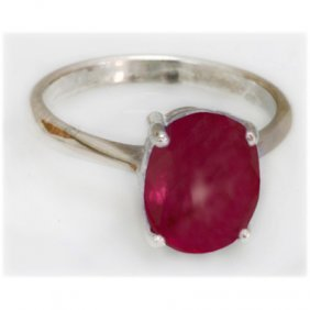 Natural 4.25 Ctw Ruby Oval .925 Sterling Silver Ring