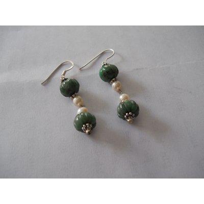 35.80 ctw Emerald earrings .925 Sterling
