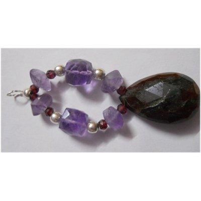 Natural 57.40ct Amethyst/Garnet/Ruby Bracelet .925 Ster