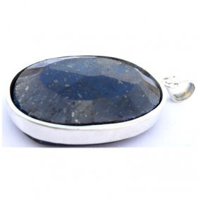Natural 107.6 Ctw Sapphire Oval .925 Sterling Pendant