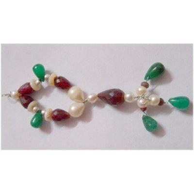 Natural 59.00ct Emerald/Ruby/Pearl Pendant .925 Sterlin