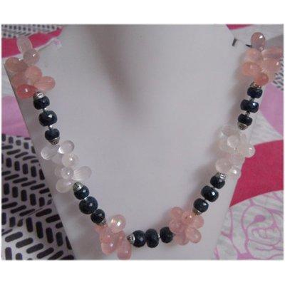 Natural 538.20ct Pink Topaz/White Topaz/Sapphire Neckla
