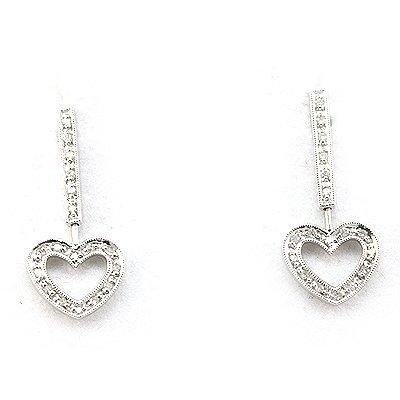Genuine 0.17 ctw Diamond Heart Dangling Earring 14k