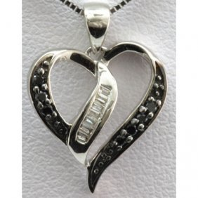 Genuine 0.10 Ctw Diamond Heart Pendant 10k W Gold