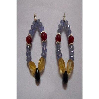 Natural 41.60ct Tanzanite,Ruby,Semi Precious Earring .9