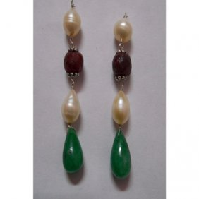 Natural 39.95ct Pearl,Ruby,Emerald Earring .925 Sterlin