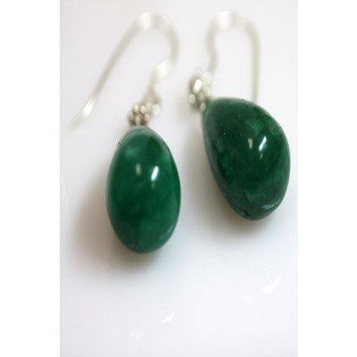 Natural 55.55ct Emerald Teardrop Earring .925 Sterling