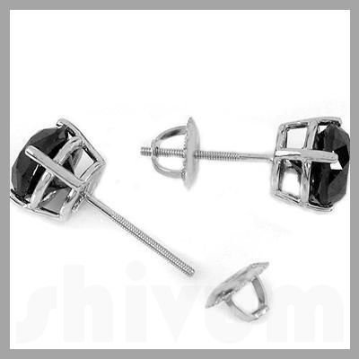 Genuine 1.50 ctw Black Diamond Stud Earrings 14kt