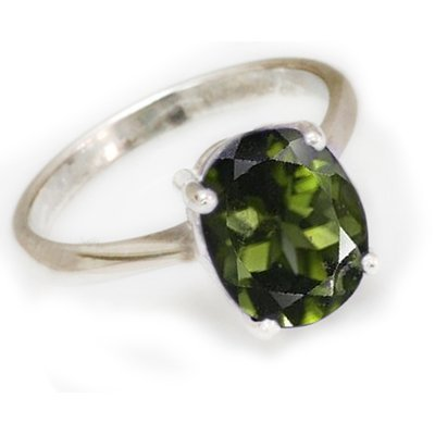 Natural 1.1 ctw Green Tourmaline .925 Sterling Ring