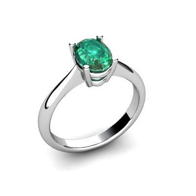 Genuine 0.52 ctw Emerald Ring 14k W/Y Gold