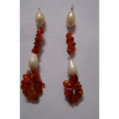 Natural 32.35ct Pearl,Semi Precious Earring .925 Sterli