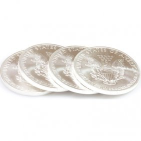 Natural 4 Oz Coin Fine Silver USA (4) One Dollar 2011