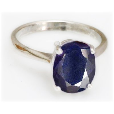 Natural 3.75 ctw Sapphire Oval .925 Sterling Ring