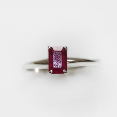 Natural 3.75 ctw Ruby Emerald Cut .925 Sterling Ring