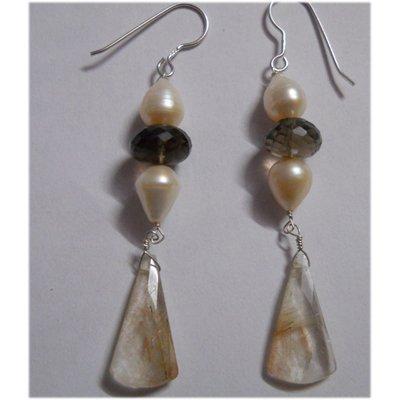 Natural 35.10ct Pearl/Semi Precious Earring .925 Sterli