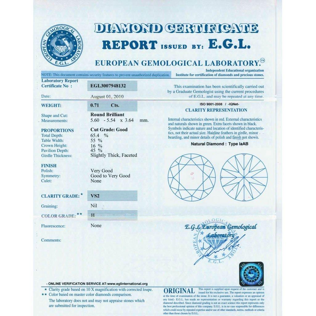 Diamond EGL Certified Round 0.71 ctw H,VS2 - 2