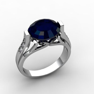 Genuine 6.09 ctw Sapphire Ring 14k W/Y Gold