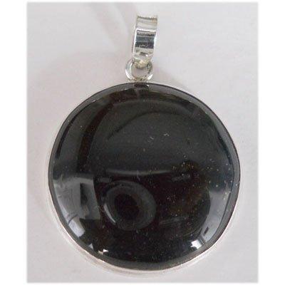 Natural 56.85 ct Black Onex Round Pendant .925 Sterling