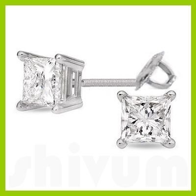 2.00 ctw Princess cut Diamond Stud Earrings I-K, SI-2