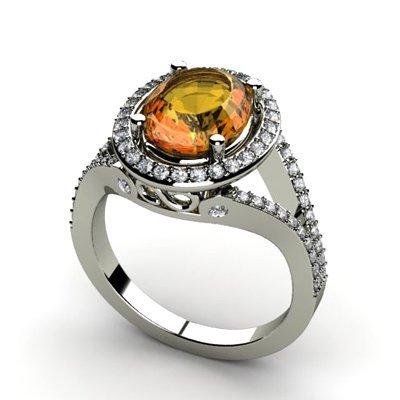 Citrine 2.98 ctw & Diamond Ring 18kt W/Y  Gold