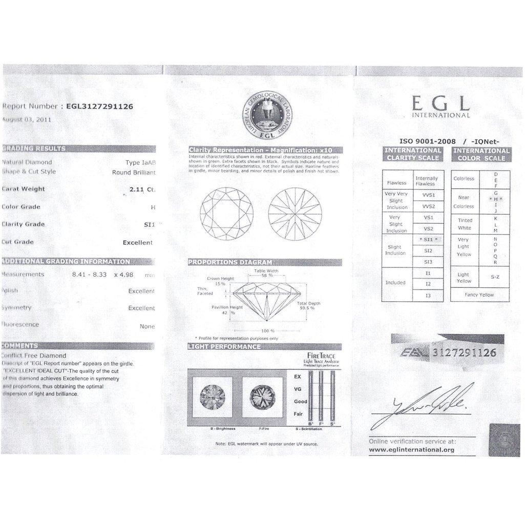 Diamond EGL Cert. Round 2.11 ctw H, SI1 - 2