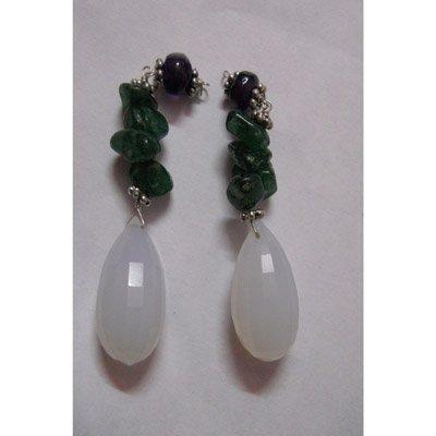 Natural 59.60ct Emerald ,Semi Precious Earring .925 Ste