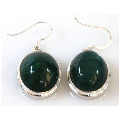 75.00 ctw EMERALD OVAL Earrings silver 0.925