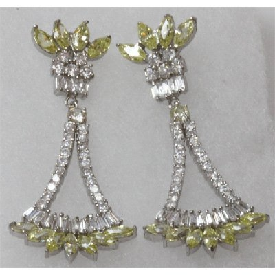 Natural 10.86g CZ Earrings .925 Sterling Silver