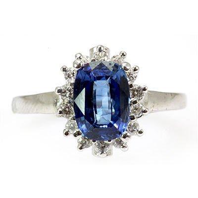 Genuine Blue Sapphire 3.09 ctw Diamond Ring 10k